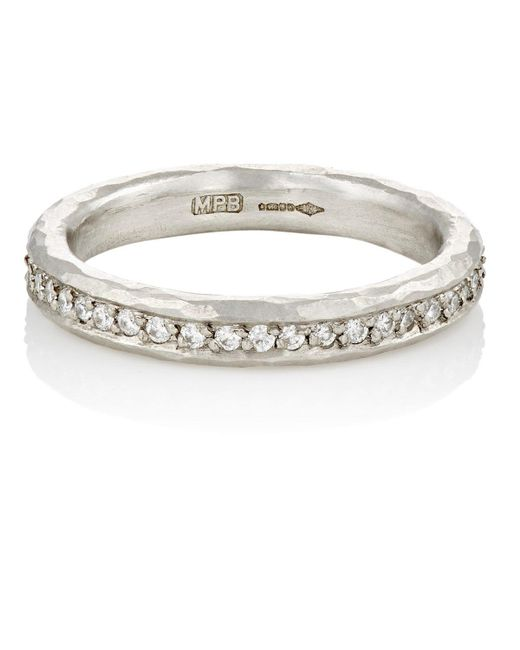 Malcolm Betts - Metallic White Diamond & Hammered Platinum Eternity Ring - Lyst