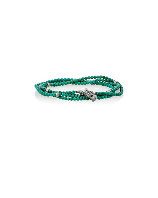 M. Cohen - Green Bead & Skull Charm Wrap Bracelet for Men - Lyst