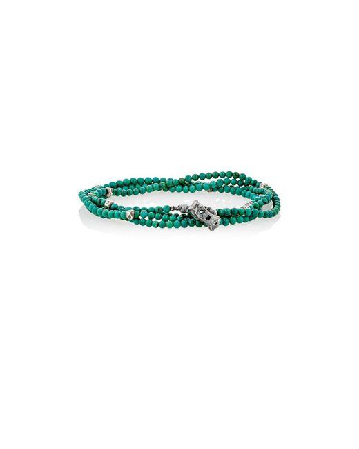M. Cohen - Green Bead & Skull Charm Wrap Bracelet for Men - Lyst