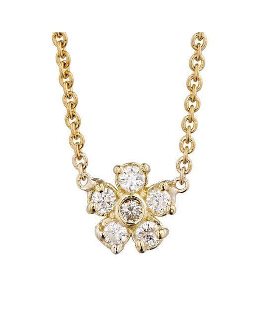 Jennifer Meyer   Metallic White Diamond Flower Charm Necklace   Lyst