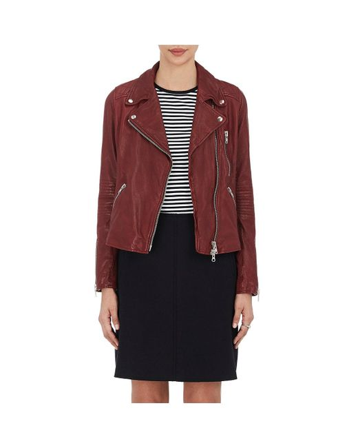 Barneys New York - Red Leather Moto Jacket - Lyst