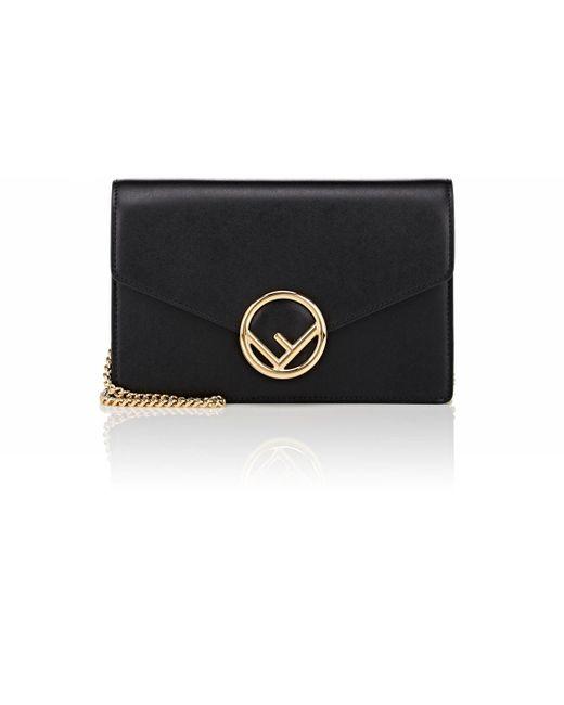 Fendi - Black Leather Chain Wallet - Lyst