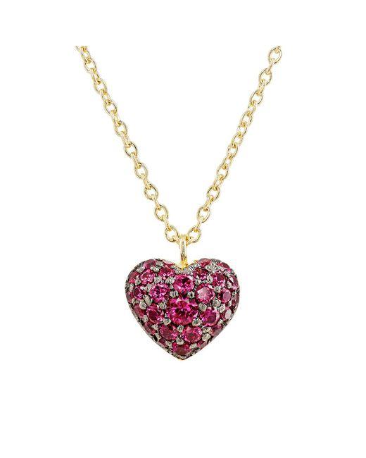 Finn | Metallic Ruby Puffed Heart Necklace | Lyst