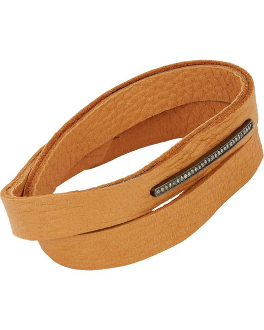 Feathered Soul   Brown Pavé Diamond & Leather Alignment Bar Wrap Bracelet   Lyst