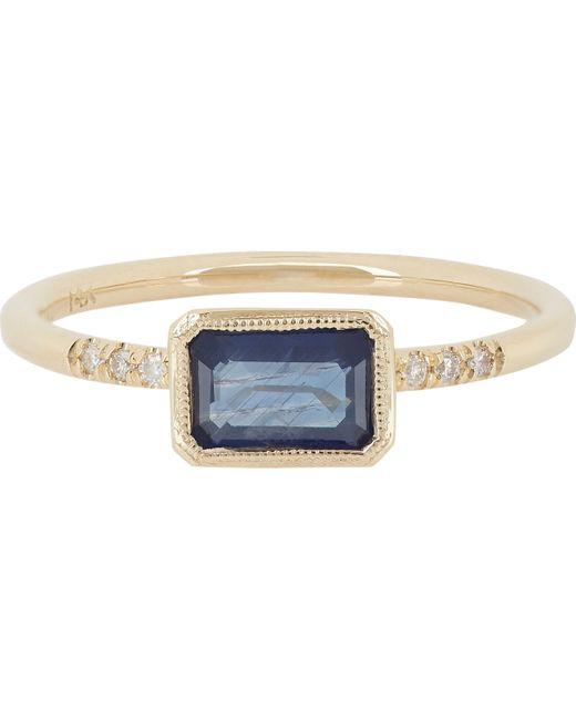 Jennie Kwon | Metallic Sapphire, Pavé Diamond & Gold Ring Size 7 M | Lyst