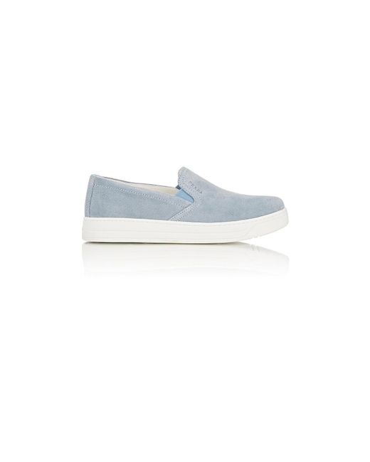 Prada Linea Rossa | Blue Suede Slip-on Sneakers | Lyst
