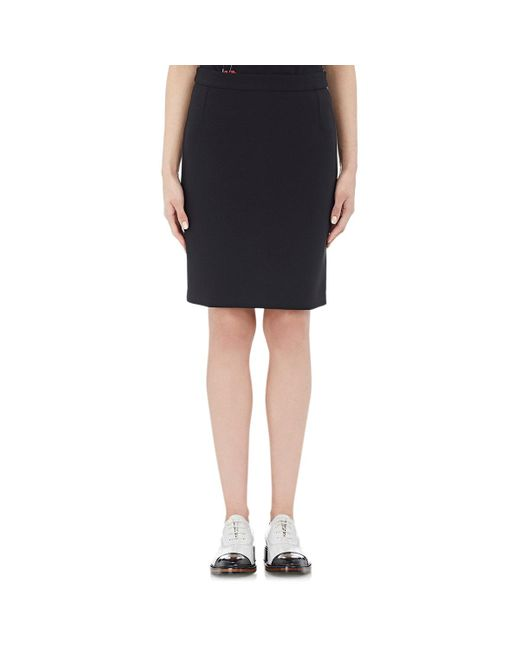 Lanvin | Black Bonded Jersey Pencil Skirt | Lyst