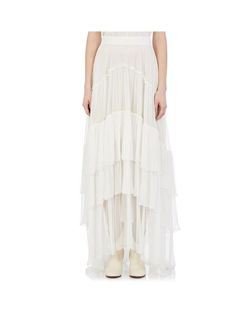 chlo 233 tiered mousseline maxi skirt in white lyst