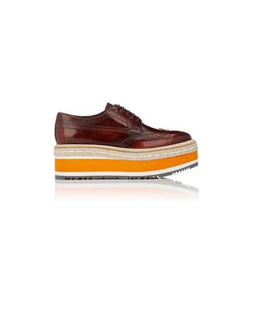 Prada Platform Espadrille Wingtip Oxford Shoes In Brown | Lyst