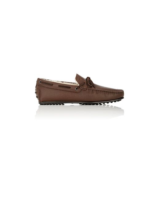 Tod's | Brown Shearling-lined Tie Drivers for Men | Lyst