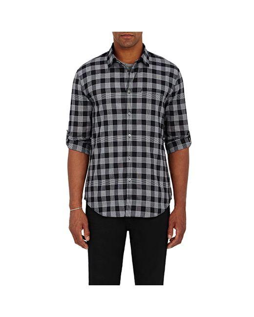 John Varvatos | Black Check Roll-tab Woven Shirt for Men | Lyst