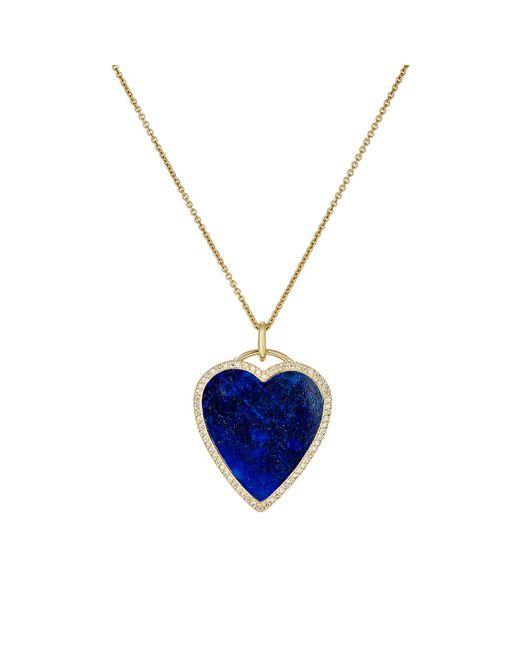 Jennifer Meyer | Blue White Diamond & Lapis Lazuli Heart Pendant Necklace | Lyst