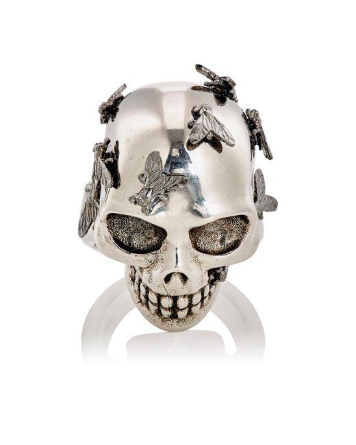 Alexander McQueen | Metallic Fly Skull Ring for Men | Lyst