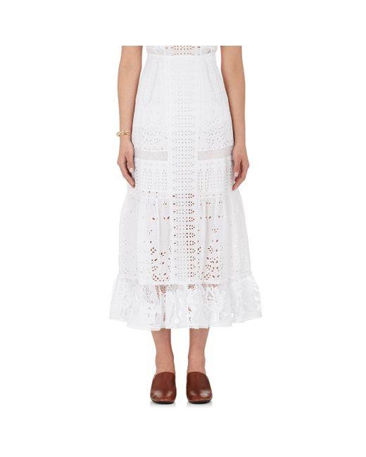 loewe cotton eyelet maxi skirt in white lyst