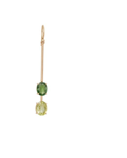 Irene Neuwirth   Green Tourmaline & Diamond Drop Earring   Lyst