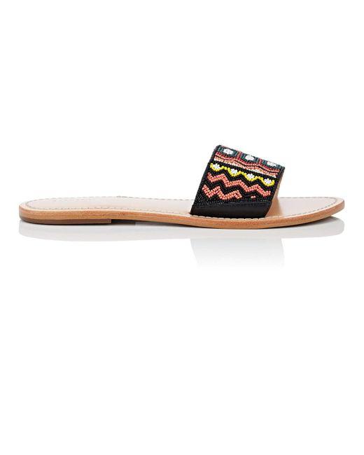 Barneys New York - Multicolor Beaded Leather Slide Sandals Size 10 - Lyst