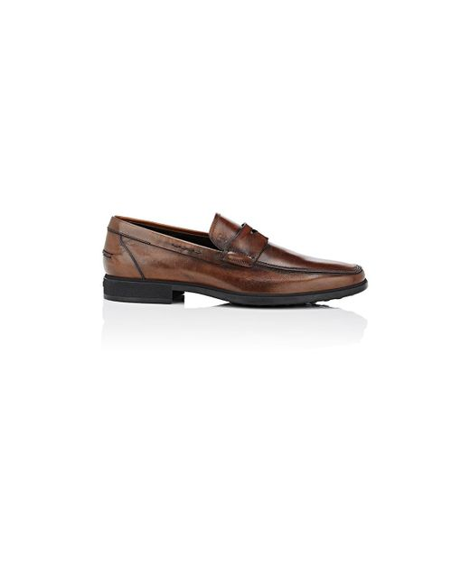 Tod's - Brown Burnished Leather Penny Loafers for Men - Lyst