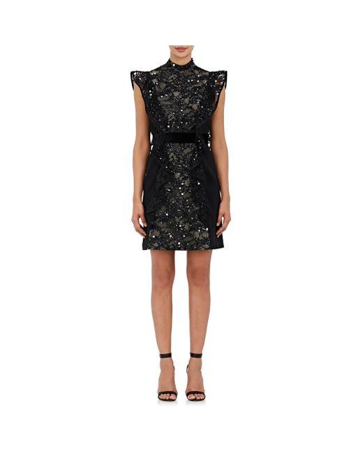 J. Mendel - Black Embellished Silk Sleeveless Sheath Dress - Lyst