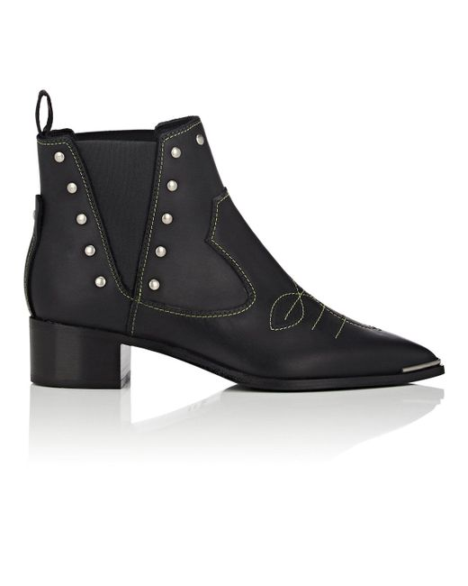 Acne - Black Jexy Leather Ankle Boots - Lyst