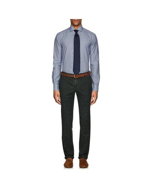 Kiton - Blue Gingham Cotton Poplin Dress Shirt for Men - Lyst
