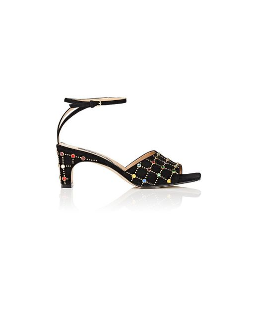 Sergio Rossi | Black Embellished Suede Ankle | Lyst