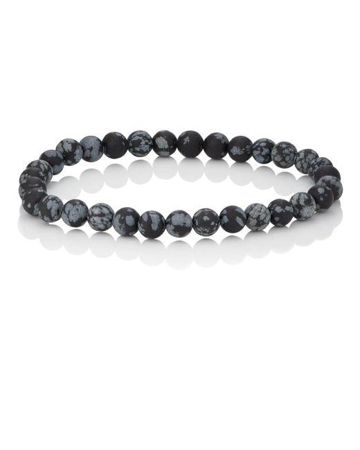 Barneys New York - Black Snowflake Obsedian Beaded Bracelet for Men - Lyst