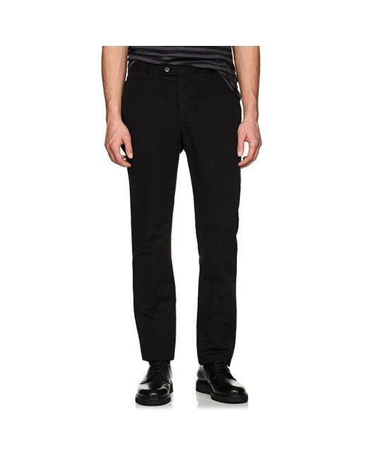 Officine Generale - Black Slub-weave Cotton-linen Pants for Men - Lyst