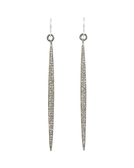 Feathered Soul - Multicolor Pavé Diamond & Sterling Silver long Wand Earrings - Lyst
