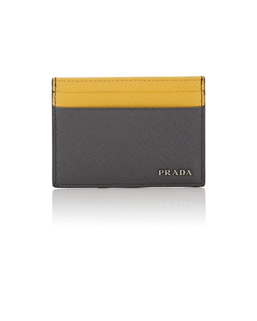 Prada - Gray Colorblocked Leather Card Case for Men - Lyst
