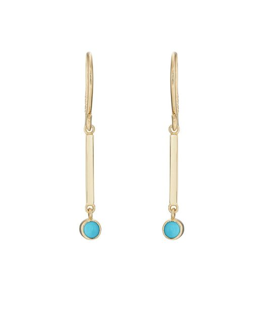 Jennifer Meyer - Metallic Turquoise Bezel Mini Stick Drop Earrings - Lyst