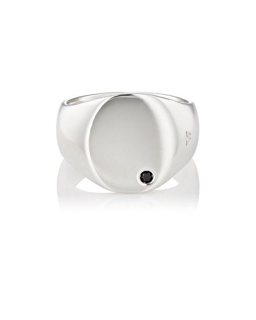 Tom Wood - Metallic Black Diamond & Sterling Silver Oval Signet Ring - Lyst