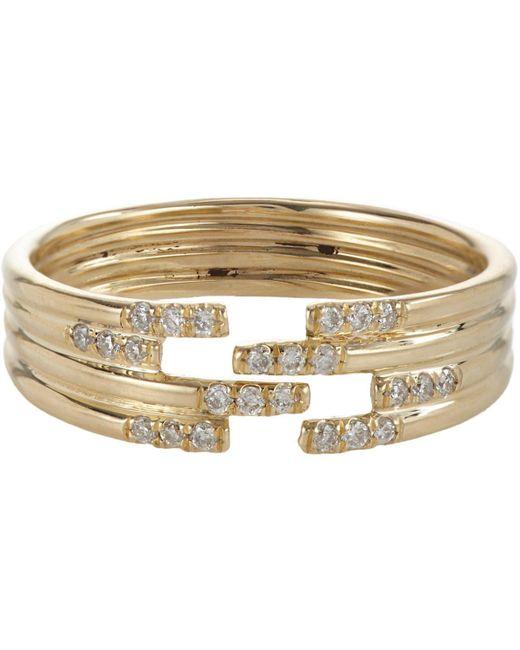 Jennie Kwon   Metallic Pavé Diamond & Gold Stacked Cutout Ring   Lyst