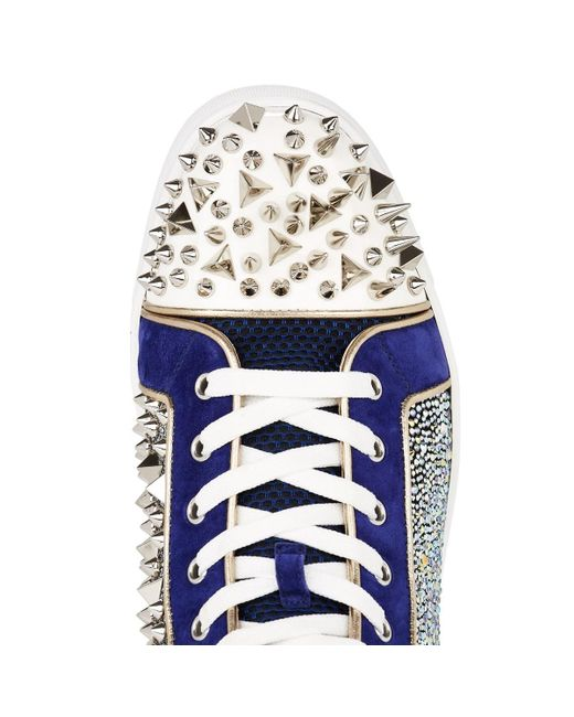 b3ef752180a8 ... Christian Louboutin - Blue No Limit Spiked Leather   Suede Sneakers for  Men ...