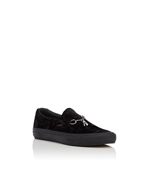 89ae9c4a788 ... Vans - Black Crushed Velvet Slip-on Sneakers - Lyst ...