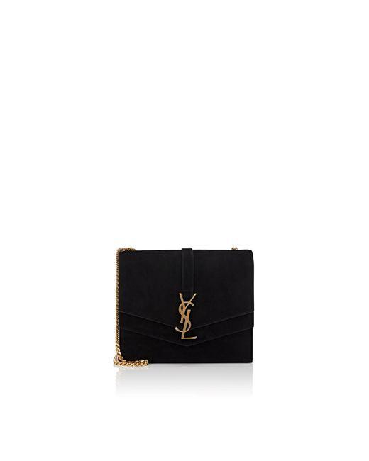 50ae2f4009b4 Saint Laurent - Black Monogram Montaigne Medium Suede Chain Bag - Lyst ...