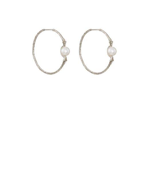 Cathy Waterman - White Pearl & Diamond Hoop Earrings - Lyst