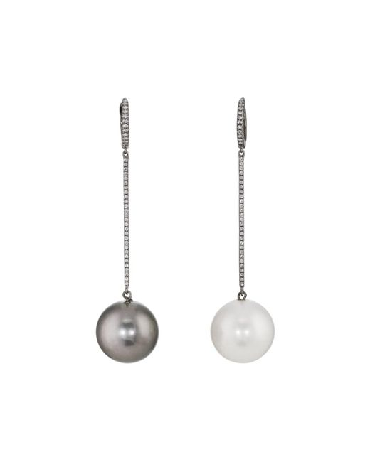Samira 13 - Black Pearl & White Diamond Mismatched Drop Earrings - Lyst