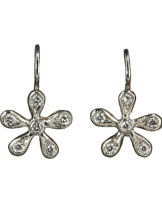 Cathy Waterman | Metallic Pave Diamond Medium Daisy Earrings | Lyst