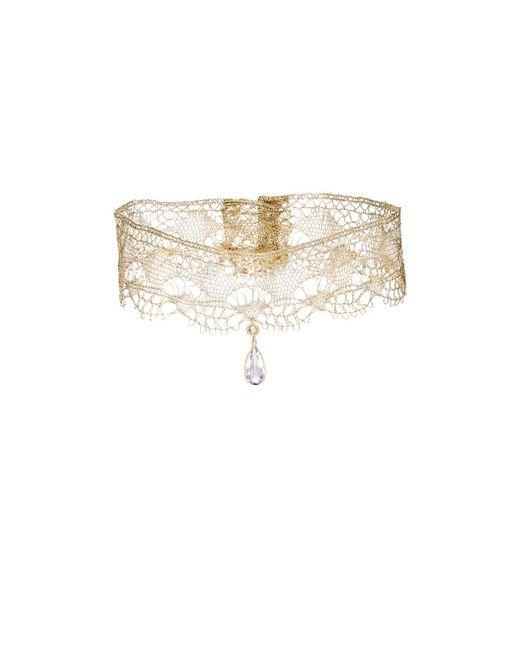 Cathy Waterman | Metallic Gemstones On Lace Choker | Lyst