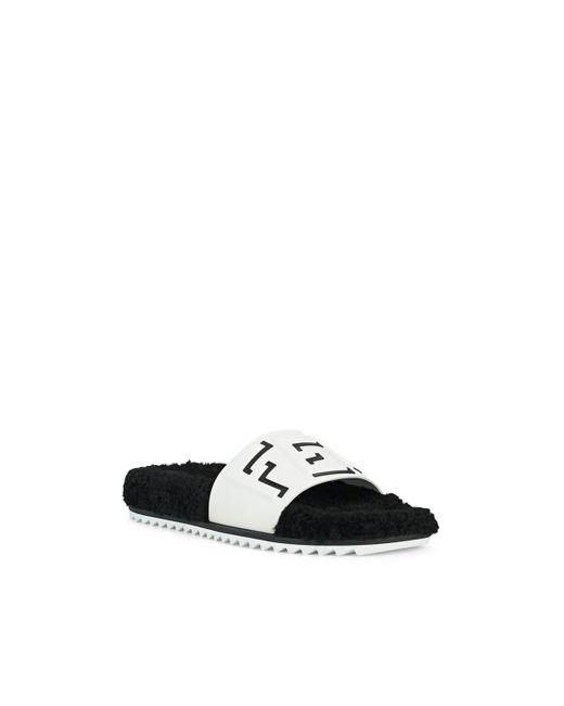 0c070cad6 ... Fendi - White Logo Shearling Slide Sandals for Men - Lyst ...