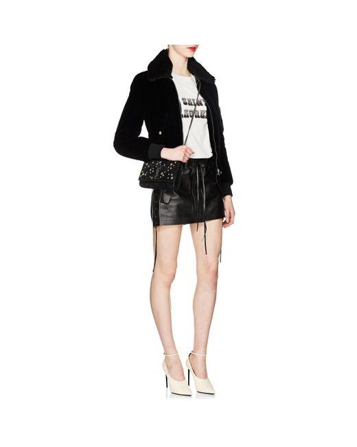 b75aafde3d6a Saint Laurent Monogram Kate Small Suede Chain Bag in Black - Lyst