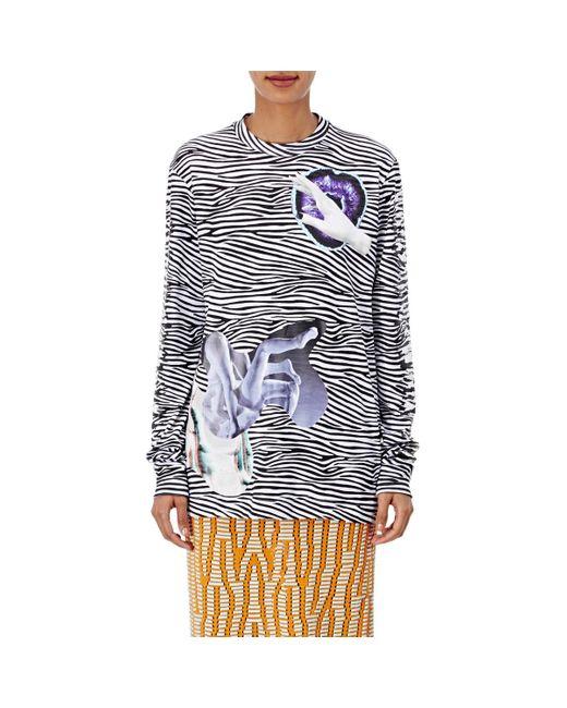 Proenza Schouler | Blue Cotton Striped & Graphic Long-sleeve T | Lyst