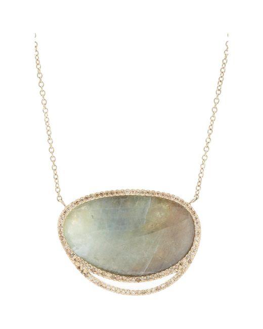 Monique Pean Atelier | Multicolor Grey Sapphire Slice & Champagne Diamond Pendant Necklace | Lyst