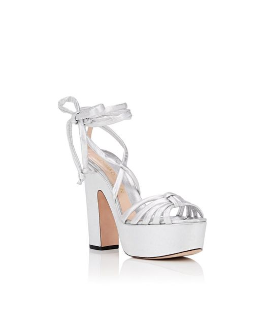 bda16755c55 ... Alchimia Di Ballin - Metallic Tara Leather Ankle-wrap Platform Sandals  - Lyst ...