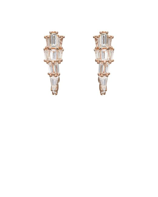Nak Armstrong - White Diamond & Rose Gold Ear Cuffs - Lyst