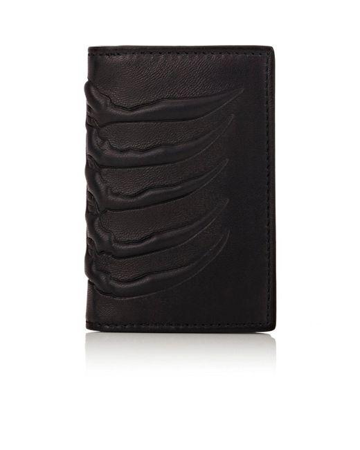 Alexander McQueen - Black Rib-cage-embossed Card Case for Men - Lyst