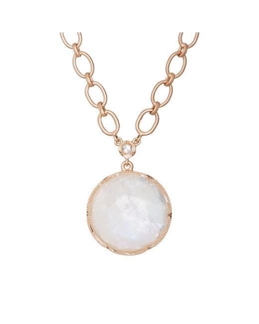 Irene Neuwirth   Metallic Rainbow Moonstone & White Diamond Pendant Necklace   Lyst
