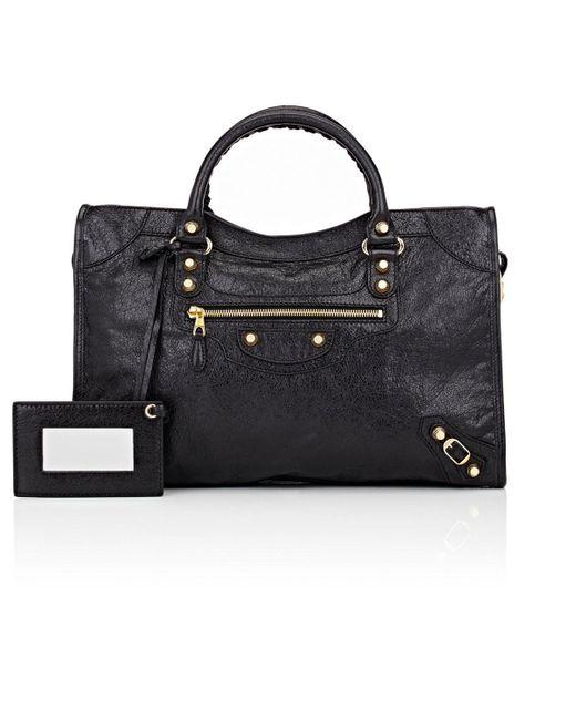 Balenciaga   Black Arena Leather Giant City Bag   Lyst