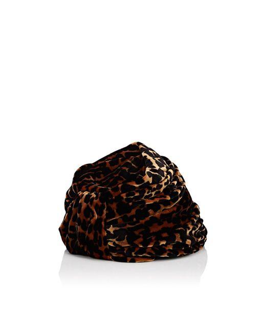 Albertus Swanepoel - Brown Gloria Leopard-pattern Velvet Turban Hat - Lyst