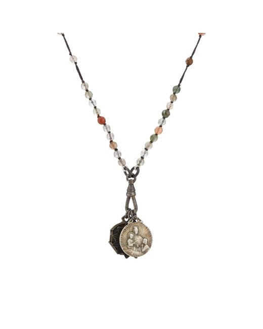 Miracle Icons - Gray Spiritual Icon Charms On Beaded Necklace for Men - Lyst